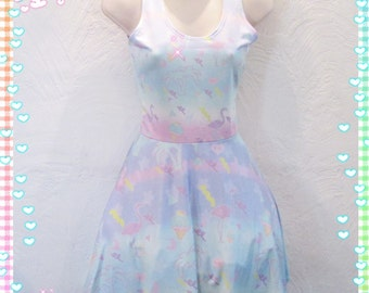 California Dreaming' Dress, Flamingo Dress, Fairykei Dress, Pastel Dress