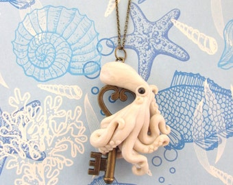 Key to my heart octopus necklace