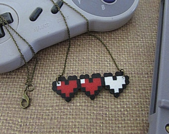8 bit zelda heart necklace