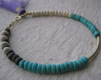 Gold Bar & Tassel Bracelet- Gemstone, Tube, Turqouise, Howlite, Wood Beads, Gift, Stacking