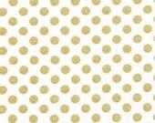 Black Friday -De-Stash Sale- De-Stashing- Camelot, In The Navy, Jackie Studios, Metallic Gold Polka Dot- 3 yards avalible