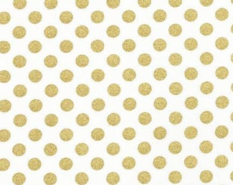 Black Friday -De-Stash Sale- De-Stashing- Camelot, In The Navy, Jackie Studios, Metallic Gold Polka Dot- 3 yards avalible
