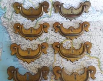 SALE! 8 vintage curved metal handles w/brass pulls*