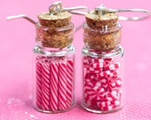 Candy Jar Earrings - Christmas Peppermint in Red and White