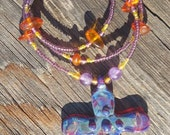 Beaded Necklace with Sculpted Glass Cross and Amber and Amethyst Beads