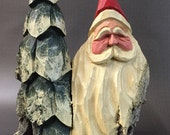 HAND CARVED original Santa  bust and tree from 100 year old Cottonwood Bark.