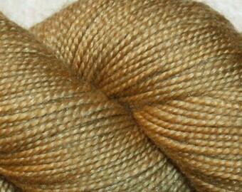 Hand Dyed Gold, Superwash Merino/Silk, Fingering Wt Yarn, Metallic - Midas Touch