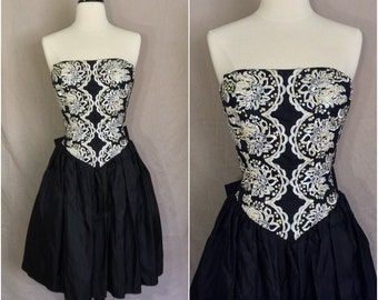 Vntg 80s Black Gunne Sax Party Dress