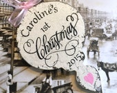 Baby's 1st CHRISTMAS ORNAMENT, Personalized Child's Ornament, Christmas Ornament, Wood Christmas Ornaments, 3 1/2 x 6