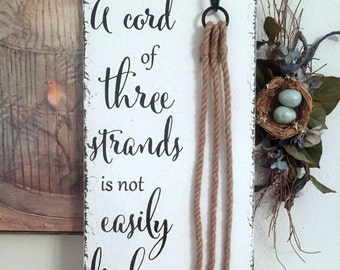 Unity Candle Alternative, CORD of THREE STRANDS Sign, Bride and Groom Signs, Wedding Signs, 12 x 24l