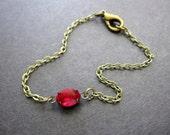 Minimalist Bracelet, Ruby Red Bracelet, Layering Bracelet, Swarovski Crystal, Antique Brass Chain, Dainty, Old Hollywood, Stacking Bracelet