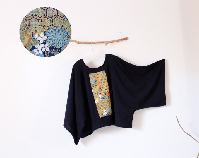 pre made oversized deep blue wool top with vintage kimono panel ready to wear / plus size wool kimono top / navy blue kimono top / Japanese