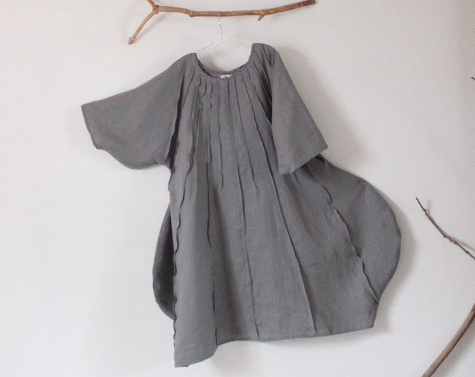 made to order pleated vase linen dress / maxi linen dress / vase shape pleated linen dress / plus size / indie fashion linen clothing