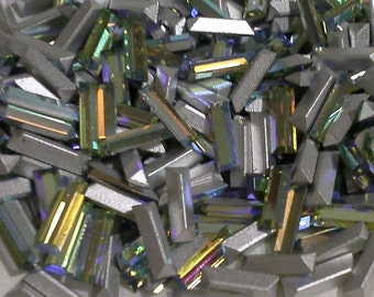 18 6x2mm Chrysolite AB Baguettes 2x6mm Chrysolite AB Vintage Swarovski Article 109 Silver Chrysolite AB Crystals For Crystal Clay Projects