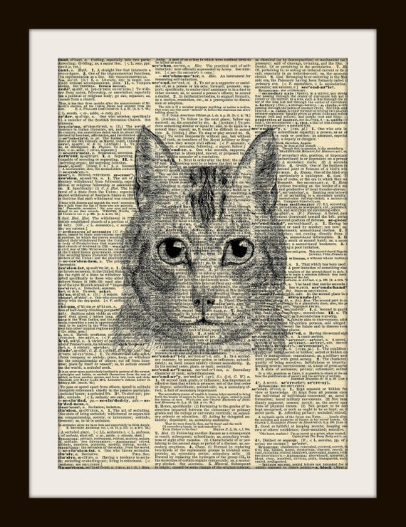 Art Print CAT FACE 8x10 Dictionary Gold Gilded Vintage Page