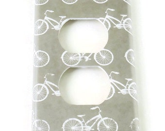 Outlet Plate Light Switch Cover  Switchplate in  Gray Bike (241O)