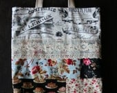 Patchwork Paris Tote French Words Pastry Images Roses Project Bag