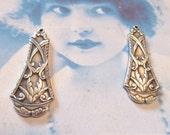 Sterling Silver Ox Plated Art Nouveau Floral Brass Drop 384SOX x2