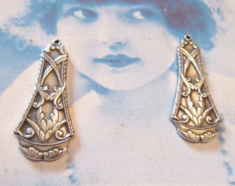 Sterling Silver Ox Plated Art Nouveau Floral Brass Drop 384SOX x2