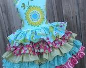 ON SALE Ready to Ship Custom Pretty Bird 5 Ruffle Dress Girl Size 4 5