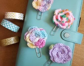 Crochet Rosette Flower Planner Clip / Paperclip /Bookmark