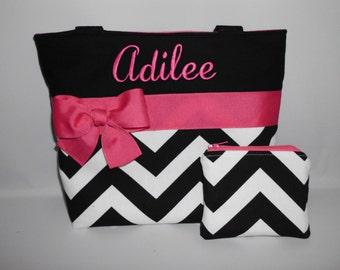 Chevron ... Black ...  Hot Pink ... Child Size  Bag ... Coin Purse Set.. .  GIRL  Purse  ...  Monogrammed  FReE