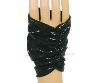 Black Faux Leather Fingerless Gloves Black Goth Gloves Black Punk Gloves Steampunk Fingerless Gloves
