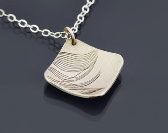 Diamond-shaped Feather Fragment  Necklace - Imprinted Sterling Silver Pendant