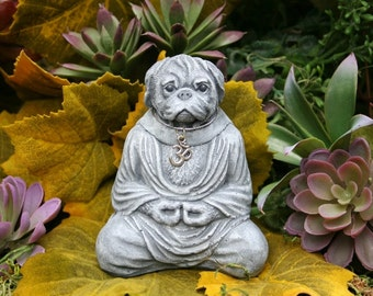 Dog Buddha - READY TO SHIP - Meditating Pug Statue - Zen Master - Concrete Garden Statue