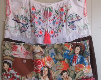 MEXICAN SENORITA CHIC Fabric Collage Folk Art Clothing -- Altered Vintage Linens  --  Plus Size xl--Eclectic Artisan -- -- mybonny scraps