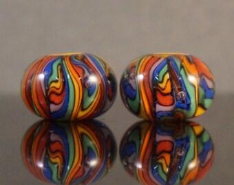 Rainbow twistie lampwork earring pair.