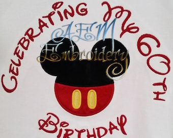 Personalized family Birthday Celebration mousehead Character Shirts Machine Embroidered