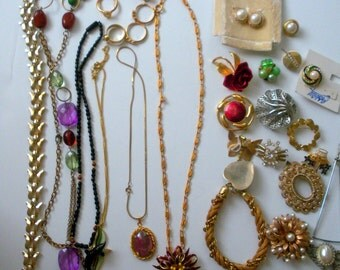 Vintage Costume Jewelry, Rings,Pins, Earrings, Necklaces