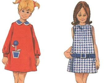 "Vintage 1960s Girls' A-Line Mod Mini Dress Sewing Pattern - Butterick 4151 - Size 2 - Breast 21"""