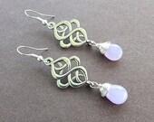 50% OFF SALE Lavender Purple Chalcedony Gemstone Teardrop & Scroll Oval Dangle Earrings