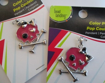 Pink Large Skull and Crossbone Metal Pendants/Charms