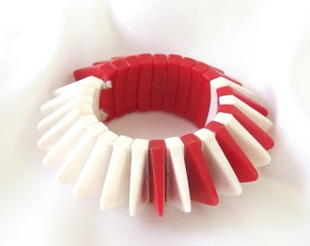 Vintage Statement Bracelet, Red and White Chunky Stretch Bracelet