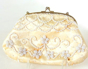 Vintage Ivory Clutch, Beaded Purse, Richere Evening Bag