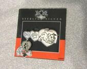 Disney 101 Dalmatians Pin Brooch - Sterling Silver - Vintage Puppy Hearts Bones Paws - Original Card