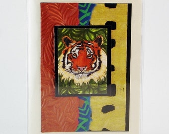 Business Card Organizer Credit Card Wallet Stacked Book Style Wallet Gift Card Holder Tiger