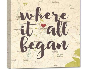 Gift for her Where it all began custom map art,  where you stole my heart Personalized Couple, Wedding Anniversary Gift