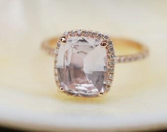 Rose gold engagement ring. Peach sapphire 3.47ct peach champagne sapphire 14k rose gold diamond ring by Eidelprecious