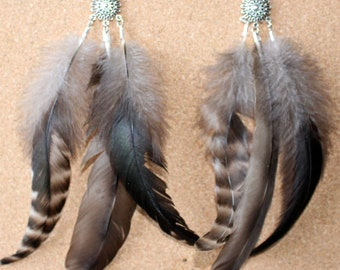 FEATHER Earrings -- Bird, Native American, Southwest - Style 38 - Triple Feather