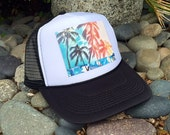 Trucker Hats, Rainbow Palms, Hawaii, limited ed., Beach, Surf, Summer, Fun, One Size Fits All, foam trucker hat, Surf, Best Seller