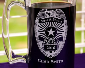 Personalized Police Officer/Sheriff Glass Mug, Custom Cadet Academy Cadet Graduation Gift, Retirement Gift, Dad's Birthday, Father's Day