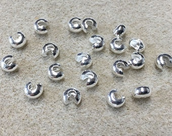 Crimp Covers Silver Plated Crimps 5mm for Crimp Beads or Tubes 20 pcs F415
