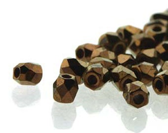 Jet Bronze 2mm True Fire Polish Czech Glass Crystal Beads 4 grams