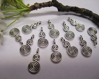 12 Antique Silver Pewter Double Spiral Charms 17x8mm C188
