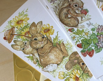 Woodland stationery. Vintage 1970s stationary set with cute animals.