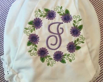 Heirloom Embroidered Monogram Floral Flowers Bloomers Diaper Cover Panty Baby Child